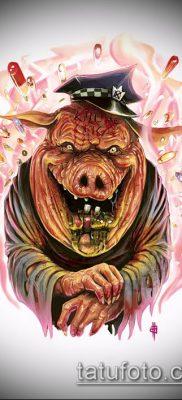 тату свинья №812 – интересный вариант рисунка, который успешно можно использовать для переделки и нанесения как Pig tattoo