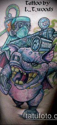 тату свинья №982 – достойный вариант рисунка, который удачно можно использовать для переделки и нанесения как тату свинья