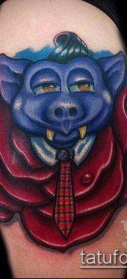 тату свинья №248 – эксклюзивный вариант рисунка, который успешно можно использовать для доработки и нанесения как тату кабан и бык
