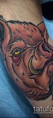 тату свинья №583 – прикольный вариант рисунка, который удачно можно использовать для доработки и нанесения как тату кабан и бык
