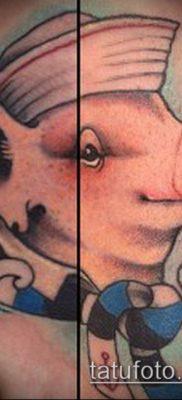 тату свинья №254 – классный вариант рисунка, который успешно можно использовать для переработки и нанесения как тату свинья