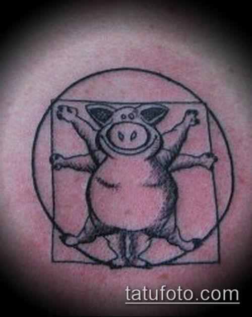 тату свинья №8 - эксклюзивный вариант рисунка, который легко можно использовать для преобразования и нанесения как тату кабан и бык