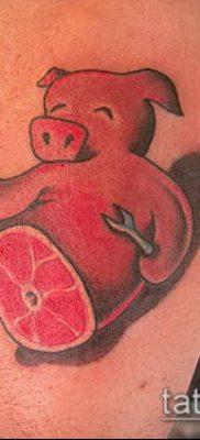 тату свинья №895 – классный вариант рисунка, который хорошо можно использовать для доработки и нанесения как Pig tattoo