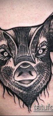 тату свинья №383 – эксклюзивный вариант рисунка, который легко можно использовать для переделки и нанесения как Pig tattoo