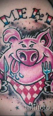 тату свинья №621 – крутой вариант рисунка, который легко можно использовать для переделки и нанесения как Pig tattoo