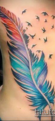 тату стая птиц №102 – уникальный вариант рисунка, который удачно можно использовать для переделки и нанесения как тату стая птиц на спине