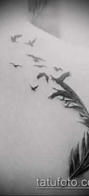 тату стая птиц №253 – крутой вариант рисунка, который хорошо можно использовать для преобразования и нанесения как тату стая птиц на лопатке