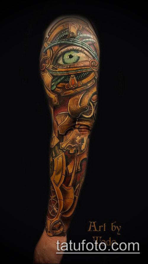 тату стимпанк №419 - классный вариант рисунка, который успешно можно использовать для преобразования и нанесения как тату стимпанк на ноге