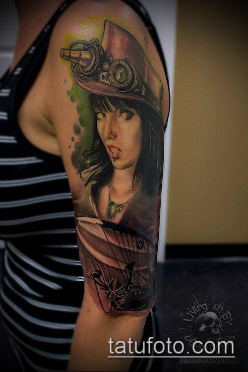 тату стимпанк №965 - крутой вариант рисунка, который успешно можно использовать для переделки и нанесения как тату стимпанк плечо