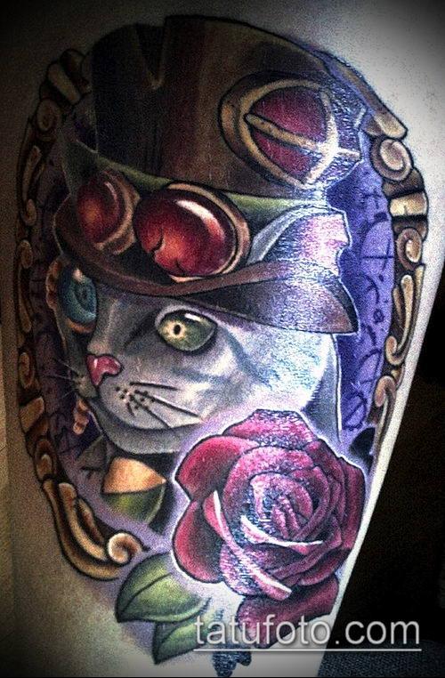 тату стимпанк №313 - крутой вариант рисунка, который легко можно использовать для переработки и нанесения как тату стимпанк на спину девушке