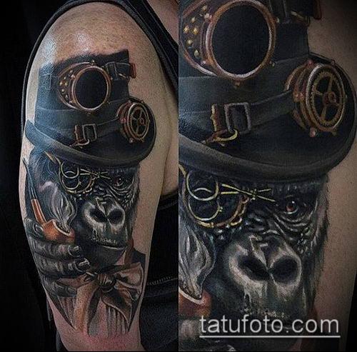 тату стимпанк №718 - крутой вариант рисунка, который удачно можно использовать для переделки и нанесения как тату стимпанк позвоночник
