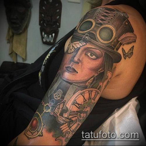тату стимпанк №30 - интересный вариант рисунка, который хорошо можно использовать для переработки и нанесения как тату стимпанк предплечье