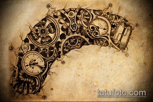тату стимпанк №788 - классный вариант рисунка, который легко можно использовать для преобразования и нанесения как тату стимпанк плечо