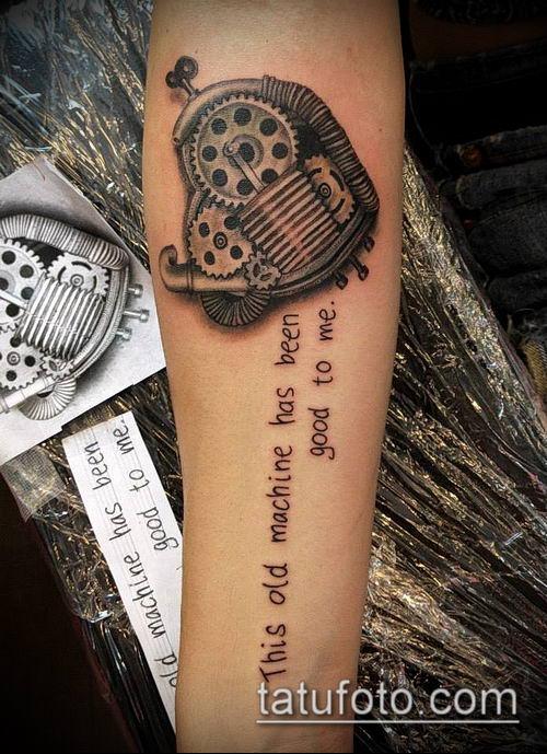 тату стимпанк №770 - достойный вариант рисунка, который легко можно использовать для переработки и нанесения как тату стимпанк предплечье
