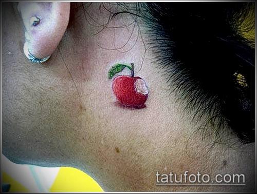 фото тату яблоко (apple tattoo) (значение) - пример рисунка - 024 tatufoto.com
