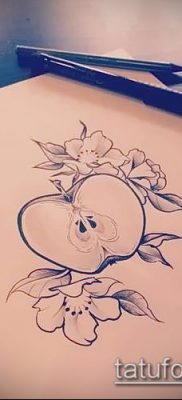 фото тату яблоко (apple tattoo) (значение) – пример рисунка – 031 tatufoto.com