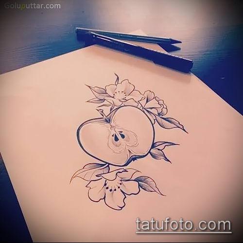 фото тату яблоко (apple tattoo) (значение) - пример рисунка - 031 tatufoto.com