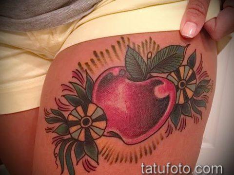 фото тату яблоко (apple tattoo) (значение) - пример рисунка - 045 tatufoto.com