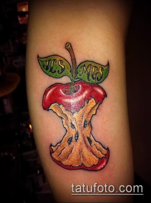 фото тату яблоко (apple tattoo) (значение) - пример рисунка - 050 tatufoto.com