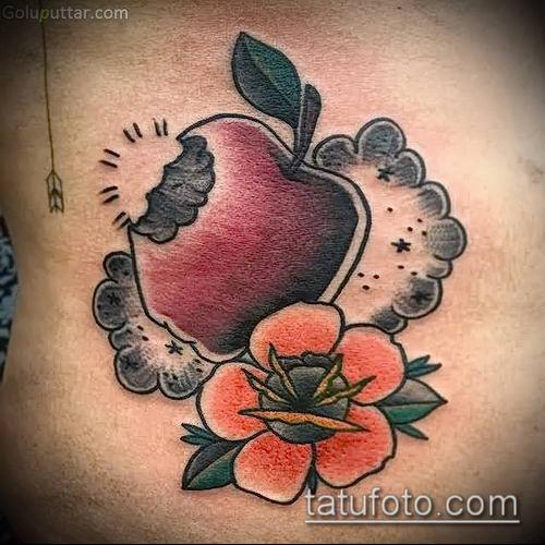 фото тату яблоко (apple tattoo) (значение) - пример рисунка - 068 tatufoto.com