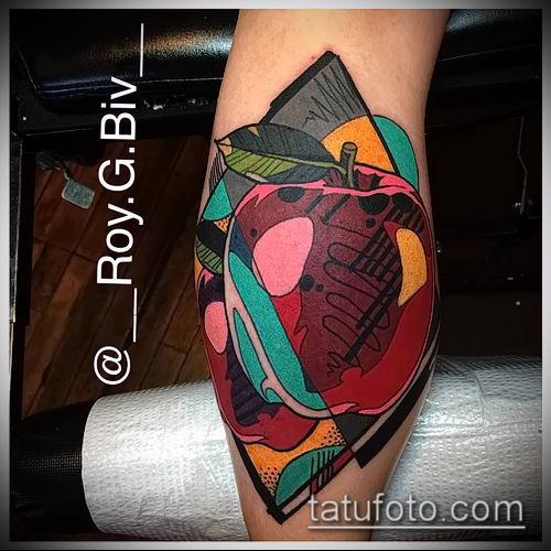 фото тату яблоко (apple tattoo) (значение) - пример рисунка - 082 tatufoto.com