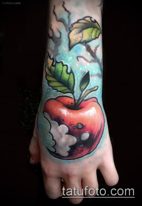 фото тату яблоко (apple tattoo) (значение) - пример рисунка - 085 tatufoto.com