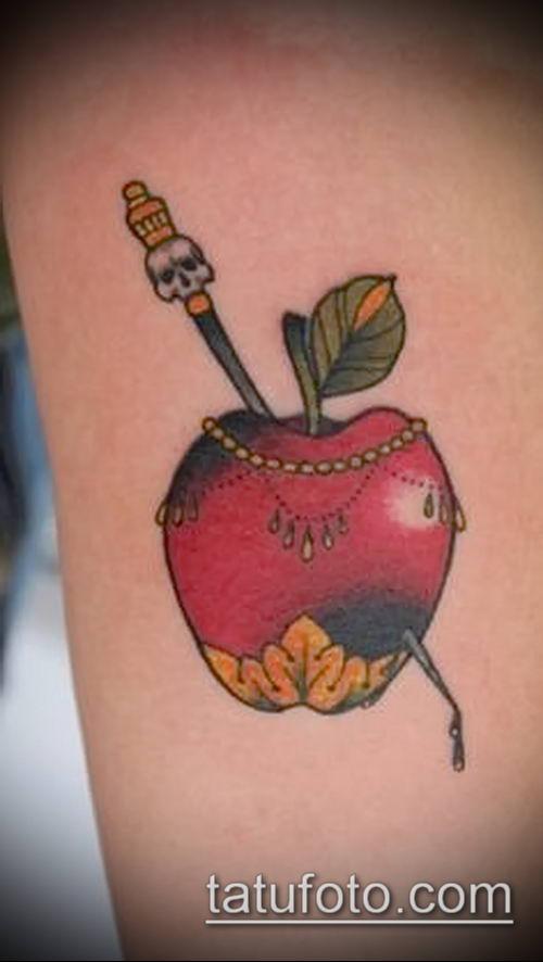 фото тату яблоко (apple tattoo) (значение) - пример рисунка - 086 tatufoto.com