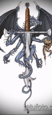 Фото тату дракон и меч (tattoo) (значение) – пример рисунка – 014 tatufoto.com