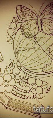Фото тату глобус – пример рисунка – 26052017 – пример – 008 Tattoo globe