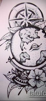 Фото тату глобус – пример рисунка – 26052017 – пример – 022 Tattoo globe