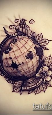 Фото тату глобус – пример рисунка – 26052017 – пример – 042 Tattoo globe
