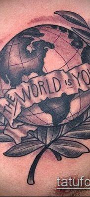 Фото тату глобус – пример рисунка – 26052017 – пример – 046 Tattoo globe