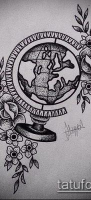 Фото тату глобус – пример рисунка – 26052017 – пример – 053 Tattoo globe