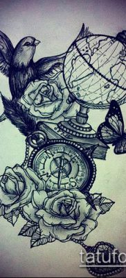 Фото тату глобус – пример рисунка – 26052017 – пример – 077 Tattoo globe