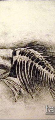 Фото тату скелет рыбы – пример рисунка – 30052017 – пример – 011 Fish skeleton tattoo