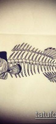 Фото тату скелет рыбы – пример рисунка – 30052017 – пример – 022 Fish skeleton tattoo
