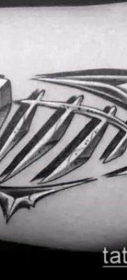 Фото тату скелет рыбы – пример рисунка – 30052017 – пример – 028 Fish skeleton tattoo