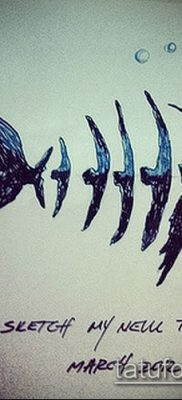 Фото тату скелет рыбы – пример рисунка – 30052017 – пример – 050 Fish skeleton tattoo