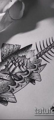 Фото тату скелет рыбы – пример рисунка – 30052017 – пример – 061 Fish skeleton tattoo
