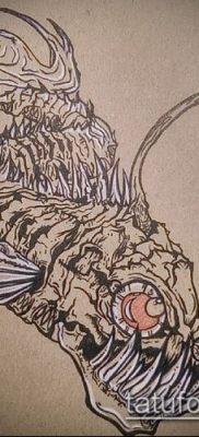 Фото тату скелет рыбы – пример рисунка – 30052017 – пример – 082 Fish skeleton tattoo