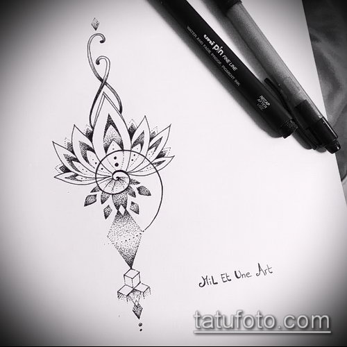 Фото Эскизы тату лотос - 19062017 - пример - 118 Sketches of tattoo lotus - tatufoto.com