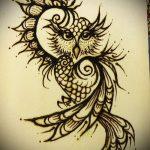 Фото рисунок совы хной мехенди - 04062017 - пример - 003 owl henna