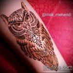 Фото рисунок совы хной мехенди - 04062017 - пример - 012 owl henna