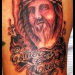 Фото тату Иисуса Христа №115 - крутой вариант рисунка, который легко можно использовать для переделки и нанесения как тату иисуса христа на плече
