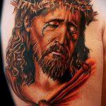 Фото тату Иисуса Христа №404 - уникальный вариант рисунка, который легко можно использовать для доработки и нанесения как тату иисуса христа на предплечье