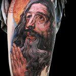 Фото тату Иисуса Христа №191 - достойный вариант рисунка, который хорошо можно использовать для доработки и нанесения как тату иисуса христа на спине
