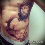 Фото тату Иисуса Христа №409 - прикольный вариант рисунка, который хорошо можно использовать для переработки и нанесения как тату иисуса христа и дьявола