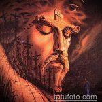 Фото тату Иисуса Христа №376 - крутой вариант рисунка, который успешно можно использовать для доработки и нанесения как тату иисуса христа на боку