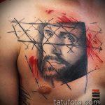 Фото тату Иисуса Христа №644 - крутой вариант рисунка, который хорошо можно использовать для переработки и нанесения как тату иисуса христа в кресте