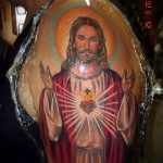 Фото тату Иисуса Христа №878 - эксклюзивный вариант рисунка, который удачно можно использовать для преобразования и нанесения как тату иисуса христа на боку